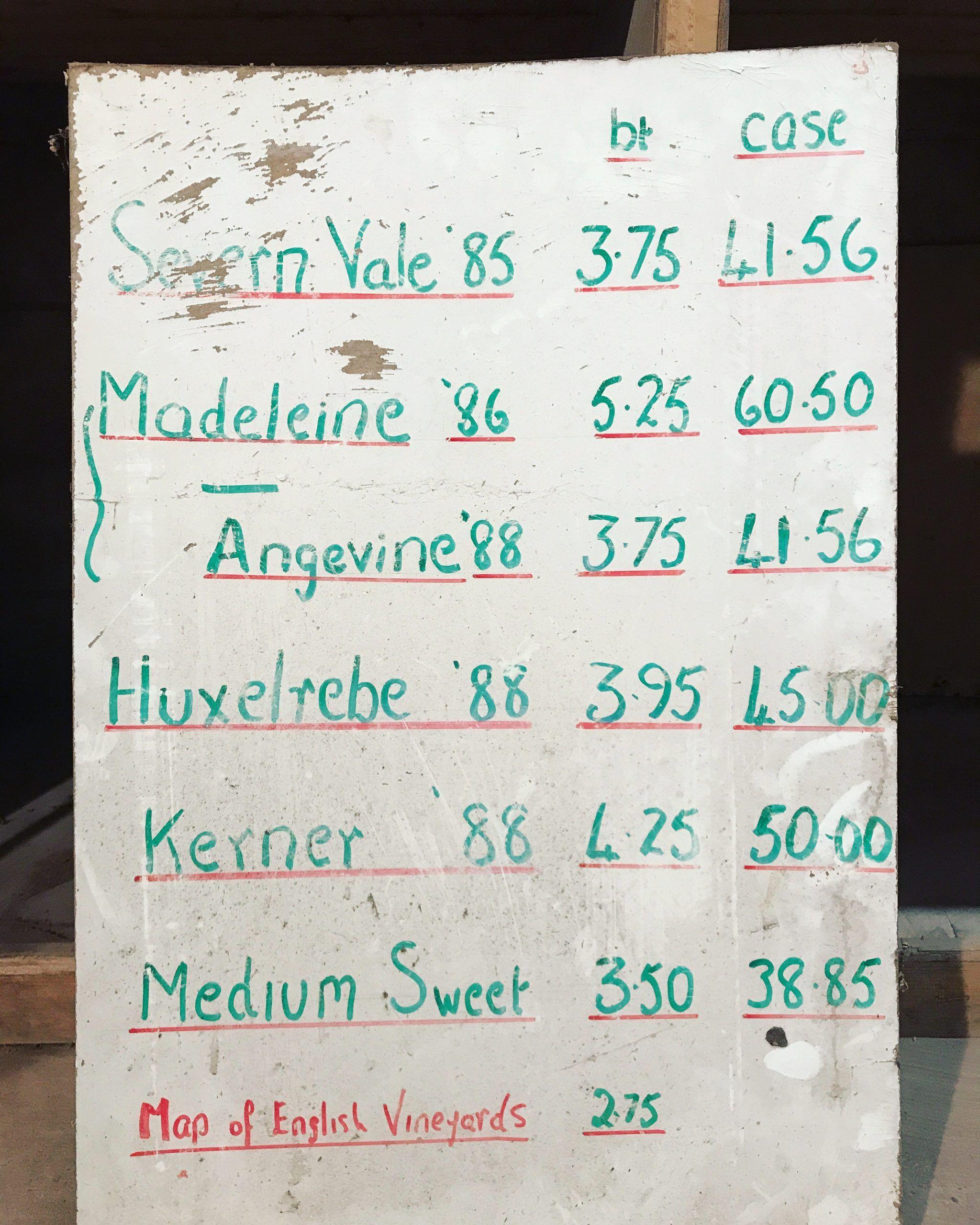 Astley Vineyard - old prices