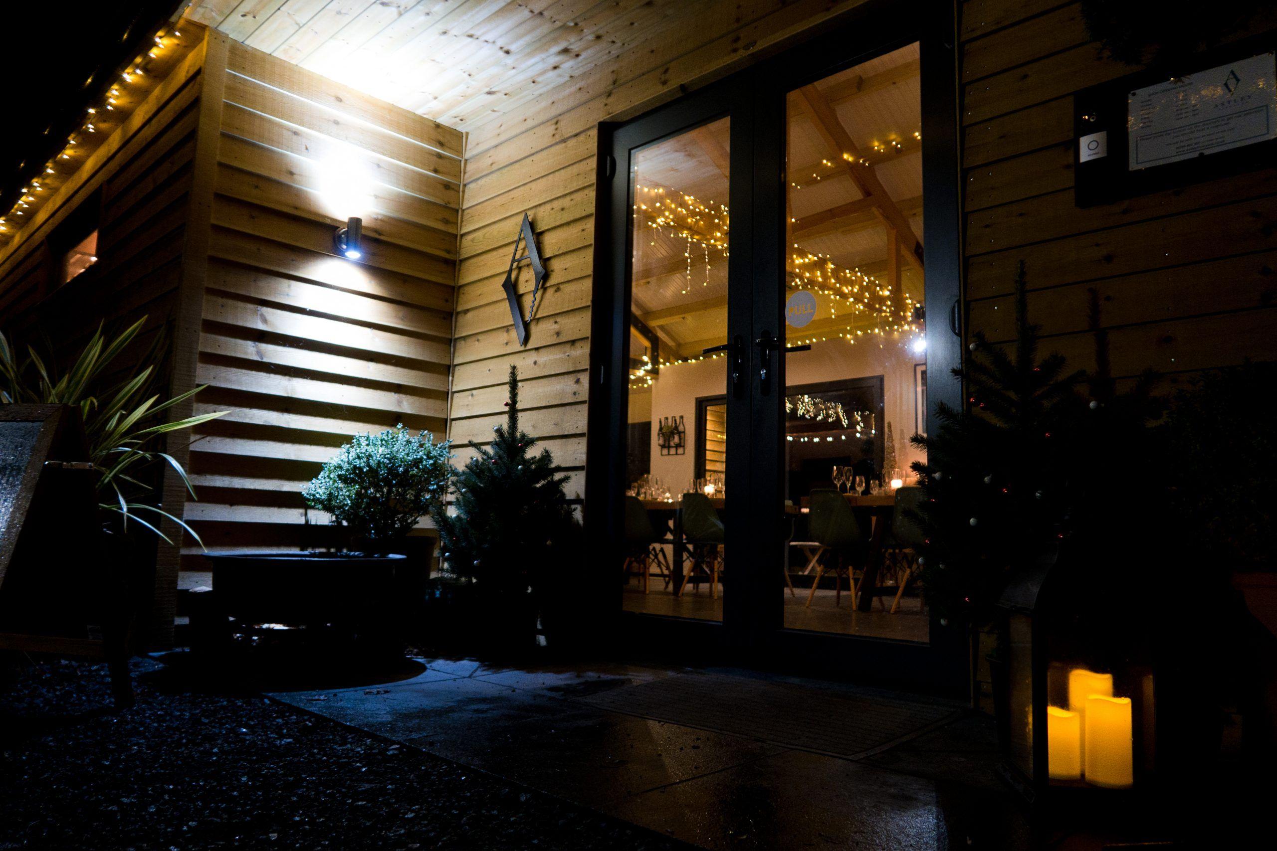 Astley Vineyard - cellar door at night